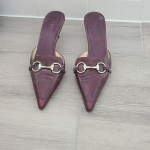Purple Gucci shoes with kittens herl in si…